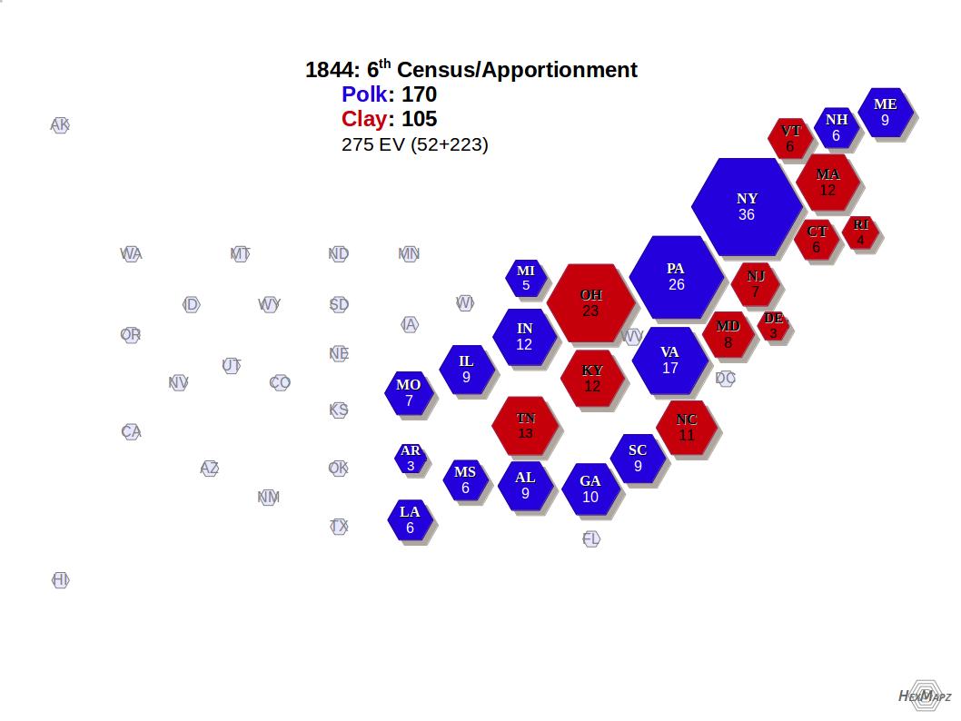 U S Electoral Map 1844