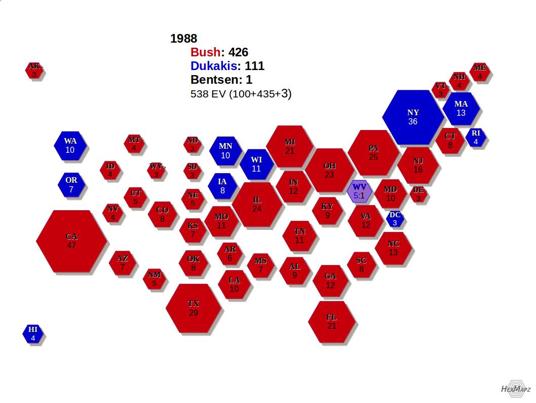 US Electoral Map HexMapz - 1988 us electoral map