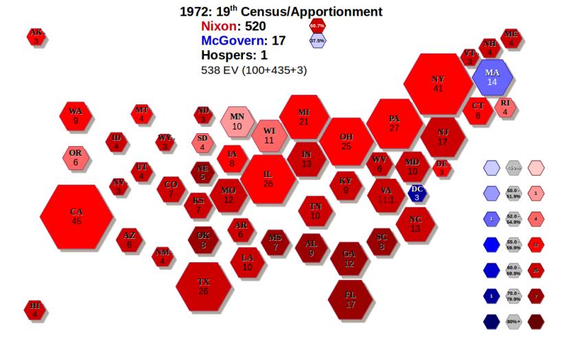 Scaled Electoral Map HexMapz - Us electoral map 1972